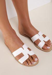 Renee - Białe Klapki Anastias. Nosek buta: okrągły. Kolor: biały. Wzór: aplikacja. Obcas: na obcasie. Wysokość obcasa: niski