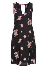 Czarna sukienka bonprix z dekoltem w serek, w kwiaty
