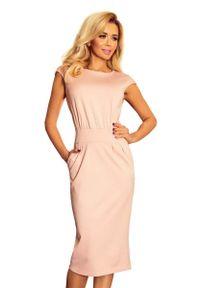 Numoco - Różowa Sukienka Elegancka Midi z Zaznaczoną Talią. Kolor: różowy. Materiał: poliester, elastan. Styl: elegancki. Długość: midi
