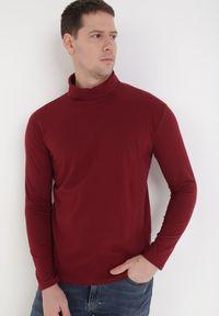 Czerwona koszulka z długim rękawem Born2be z golfem