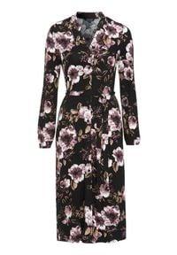Happy Holly Sukienka we wzory Milly Czarny w kwiaty female czarny/ze wzorem 40/42. Typ kołnierza: dekolt w serek. Kolor: czarny. Materiał: jersey, dzianina. Długość rękawa: długi rękaw. Wzór: kwiaty