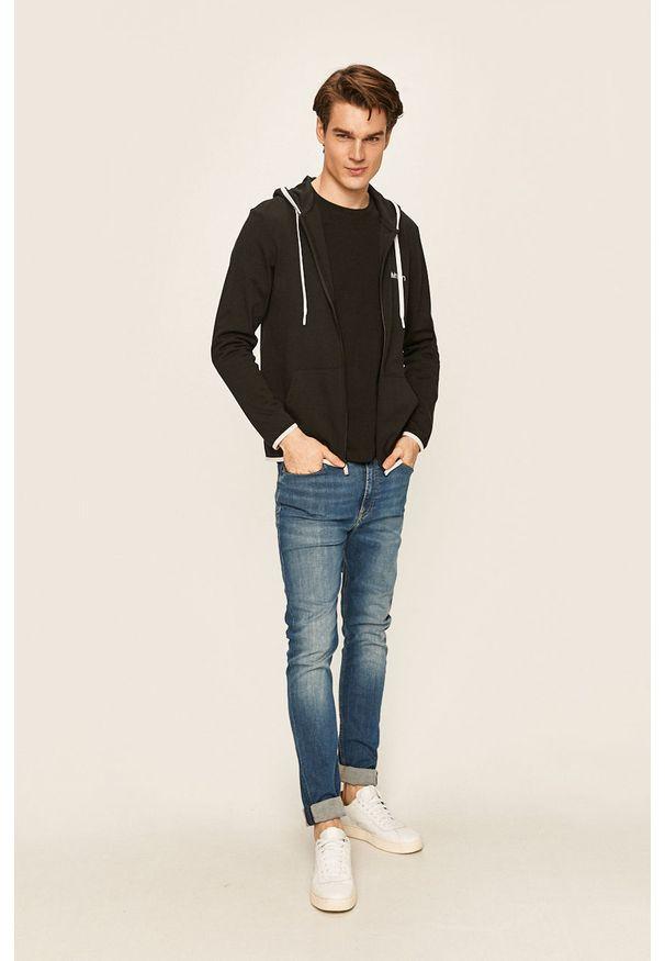 Czarna bluza rozpinana Calvin Klein Underwear z kapturem, z nadrukiem, casualowa
