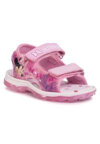 Różowe sandały Minnie Mouse z motywem z bajki