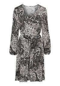 Czarna sukienka mini Cellbes z długim rękawem, elegancka, paisley