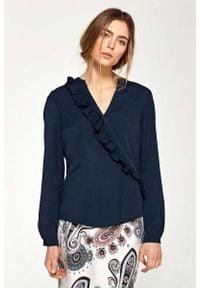 Nife - Granatowa Koszulowa Bluzka z Asymetryczną Falbanką. Kolor: niebieski. Materiał: lycra, poliester