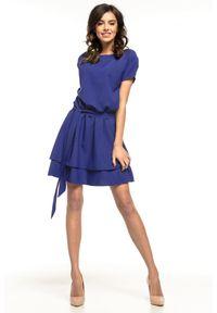 Niebieska sukienka wizytowa Tessita z falbankami, wizytowa