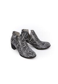 Czarne botki Zapato na wiosnę, biznesowe, wąskie, w kolorowe wzory