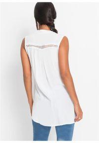 Bluzka bez rękawów, z koronką bonprix biały. Kolor: biały. Materiał: koronka. Długość rękawa: bez rękawów. Długość: długie. Wzór: koronka