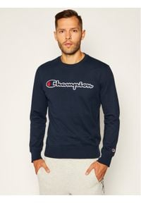 Champion Bluza Script Logo 214188 Granatowy Comfort Fit. Kolor: niebieski