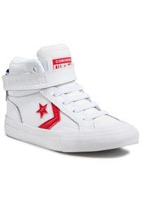 Converse - Sneakersy CONVERSE - Pro Blaze Strap Hi 670509C White/University Red/Blue. Okazja: na uczelnię, na co dzień. Zapięcie: rzepy. Kolor: biały. Materiał: skóra. Szerokość cholewki: normalna. Styl: casual
