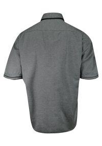 Szara elegancka koszula Rigon z krótkim rękawem, na spotkanie biznesowe