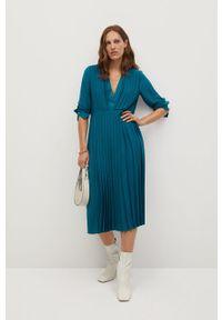 Niebieska sukienka mango z długim rękawem, casualowa