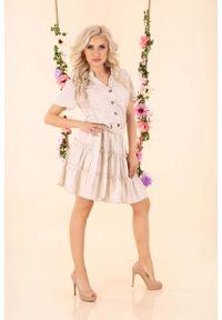 Beżowa sukienka rozkloszowana Merribel w paski, na lato, z falbankami