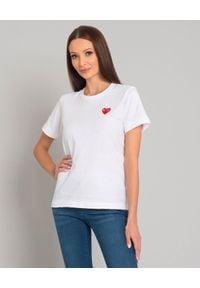 COMME DES GARCONS PLAY - Biały t-shirt z sercem. Okazja: na co dzień. Kolor: biały. Materiał: jeans. Styl: klasyczny, casual