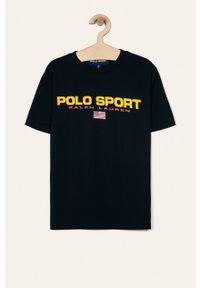 Niebieski t-shirt Polo Ralph Lauren casualowy, na co dzień, z nadrukiem