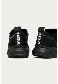 Czarne sneakersy Diesel z cholewką, na sznurówki