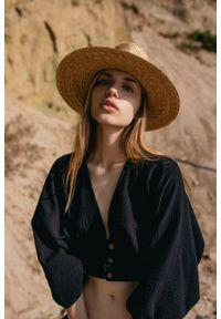 Marsala - Bluzka crop na guziki wykonana z muślinu bawełnianego czarna - COCOA BY MARSALA. Kolor: czarny. Materiał: bawełna