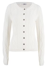 Sweter rozpinany w warkocze bonprix biel wełny. Kolor: biały. Materiał: wełna. Długość rękawa: długi rękaw. Długość: długie