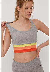 Szary biustonosz sportowy Deha gładki, z odpinanymi ramiączkami