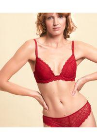 Czerwony biustonosz Etam push-up, w koronkowe wzory