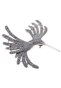 Braccatta - BELL Srebrna broszka markazyty duża koliber. Materiał: srebrne. Kolor: srebrny. Kamień szlachetny: markazyt