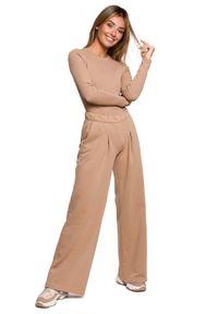 MOE - Dresowe Spodnie z Prostymi Nogawkami - Orzechowe. Kolor: brązowy. Materiał: dresówka