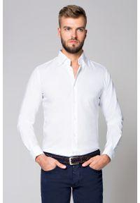 Biała koszula Lancerto na spotkanie biznesowe, w kolorowe wzory, sportowa