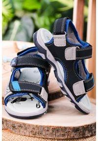Casu - granatowe sandały na rzepy casu jf07. Zapięcie: rzepy. Kolor: niebieski