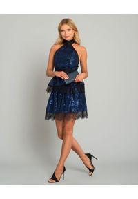 SELF PORTRAIT - Sukienka mini z cekinami. Okazja: na imprezę. Kolor: niebieski. Materiał: koronka. Wzór: aplikacja, koronka. Długość: mini