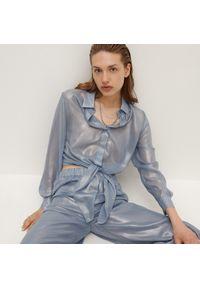 Reserved - Koszula z szyfonowej tkaniny - Niebieski. Kolor: niebieski. Materiał: szyfon, tkanina