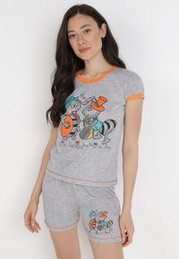Born2be - Szaro-Pomarańczowy 2-Częściowy Komplet Piżamowy Zasdo. Kolor: szary