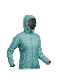 FORCLAZ - Kurtka trekkingowa zimowa - komfort -5°C - TREK 100 - damska. Kolor: niebieski. Materiał: poliester, materiał, poliamid. Sezon: zima