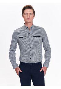Szara koszula TOP SECRET w kratkę, casualowa, na zimę, na co dzień