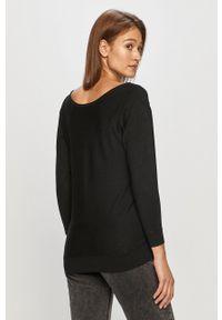 Guess - Sweter. Kolor: czarny. Materiał: dzianina. Długość rękawa: długi rękaw. Długość: długie. Wzór: aplikacja