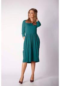 Zielona sukienka wizytowa Nommo casualowa, prosta