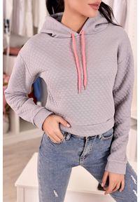 Szara bluza IVET casualowa, w kolorowe wzory, na co dzień
