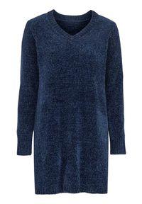 Niebieska tunika Cellbes długa, z dekoltem w serek, z długim rękawem, elegancka