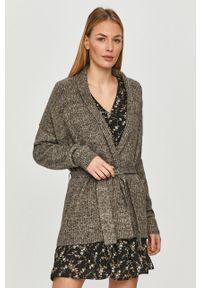 Szary sweter rozpinany Jacqueline de Yong z długim rękawem, długi