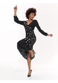 Czarna sukienka TOP SECRET casualowa, z dekoltem w serek, z krótkim rękawem, z nadrukiem