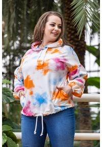Moda Size Plus Iwanek - Dresowa bluza Semi w kolorach lata XXL OVERSIZE WIOSNA. Okazja: na co dzień, do pracy. Materiał: dresówka. Długość: krótkie. Sezon: wiosna, lato. Styl: casual, elegancki