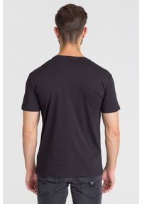 Czarny t-shirt Trussardi Jeans z okrągłym kołnierzem, klasyczny, z nadrukiem #4