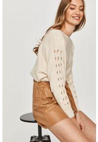 Beżowy sweter rozpinany Answear Lab długi, wakacyjny, z długim rękawem