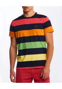 GANT - Kolorowy t-shirt w paski. Okazja: na co dzień. Kolor: zielony. Materiał: bawełna. Wzór: paski, kolorowy. Styl: casual
