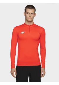 Czerwona koszulka z długim rękawem 4f ze stójką, długa, sportowa, z napisami