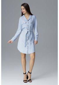 Figl - Błękitna Koszulowa Sukienka z Wiązanym Paskiem. Kolor: niebieski. Materiał: poliester. Typ sukienki: koszulowe