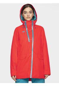 Czerwona kurtka snowboardowa 4f z kapturem, snowboardowa