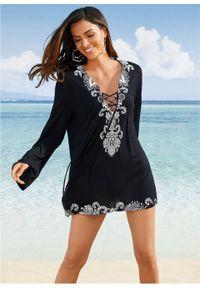 Długa tunika plażowa bonprix czarno-biały z nadrukiem. Okazja: na plażę. Kolor: czarny. Długość rękawa: długi rękaw. Długość: długie. Wzór: nadruk. Styl: elegancki