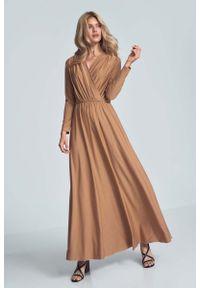 Beżowa sukienka Figl kopertowa, maxi
