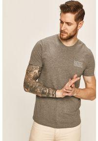 Szary t-shirt Diesel z okrągłym kołnierzem, z nadrukiem, casualowy, na co dzień