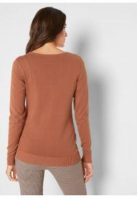 Sweter rozpinany bonprix kasztanowy. Kolor: brązowy. Styl: elegancki